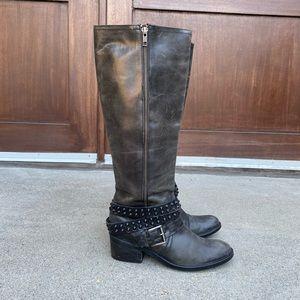 Bronx 37 Gray Distressed Tall Studded Harness Boot